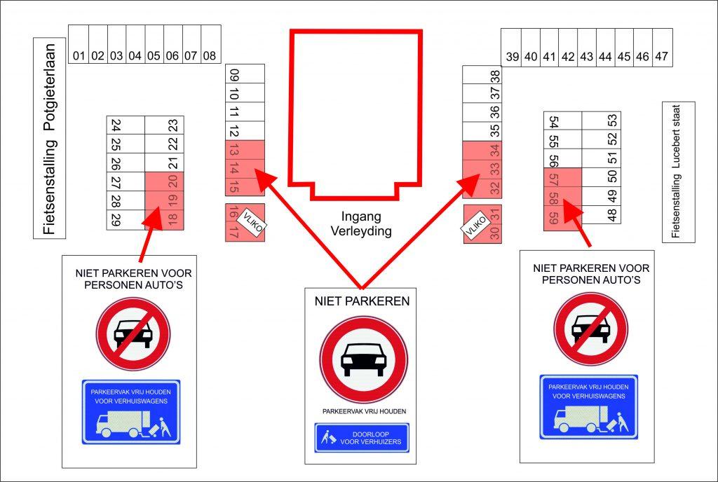 parkeerplaatsen vrijhouden voor verhuizing